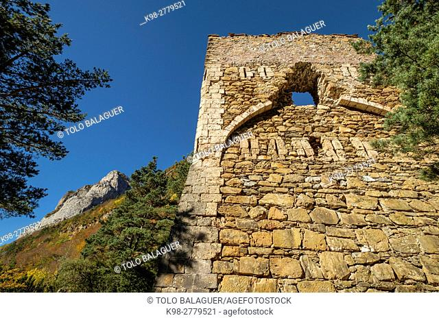 Tower of Felipe II, old castle, old lookout tower that defended the passage, Roman road, Boca del Infierno route, Valley of Hecho, western valleys