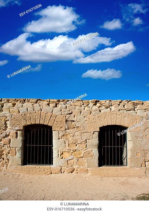 Tabarca Island battlement fort masonry wall detail in Spain