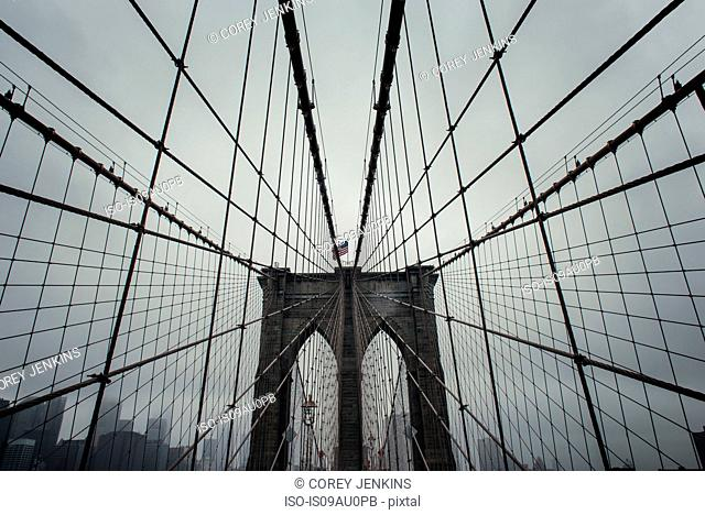Low angle view of Brooklyn Bridge symmetry, New York, USA