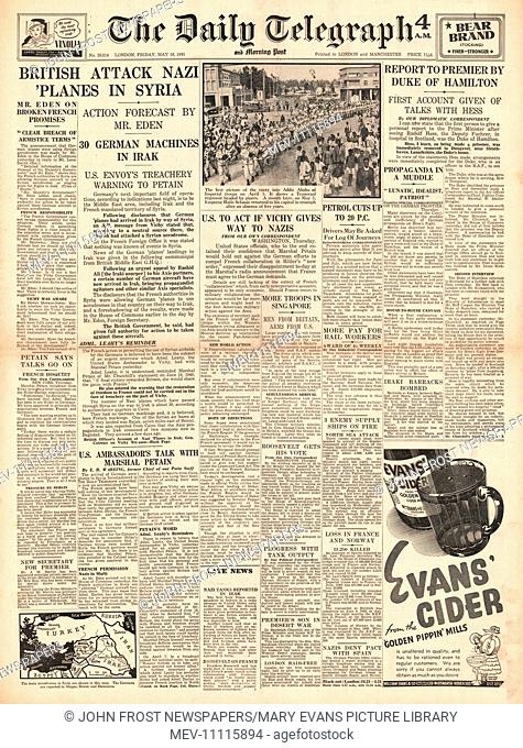 1941 front page Daily Telegraph Diplomatic crisis over Syria