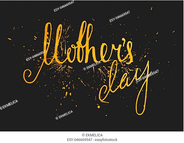 Gold textured Mothers day handwriting inscription on black background. Calligraphy lettering design element for greeting card, banner, poster, invitation