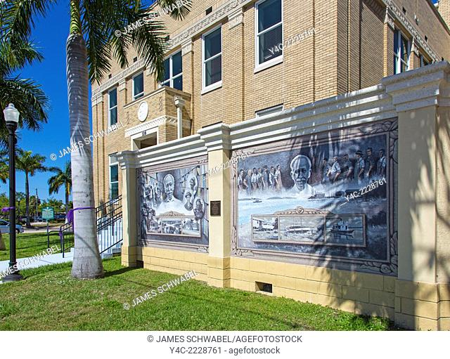 Murals painted on outdoor walls of buildings in Punta Gorda in Charlotte County Florida