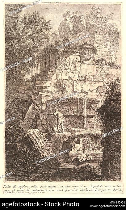Ruins of an ancient tomb in front of ruins of an ancient aqueduct (Ruine di Sepolcro antico posto dinanzi ad altre ruine d'un Aquedotto)