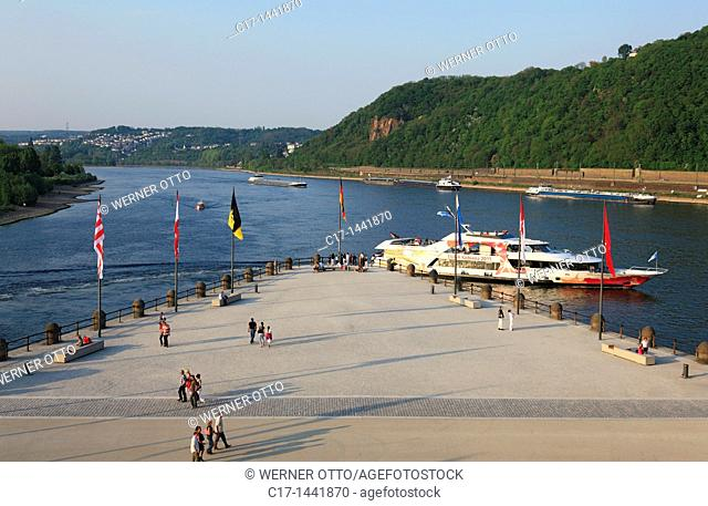 Germany. Koblenz, Rhine, Moselle, Maifeld, Eifel, Hunsrueck, Westerwald, Rhineland-Palatinate, Deutsches Eck, Moselle flows into the Rhine, Moselle mouth