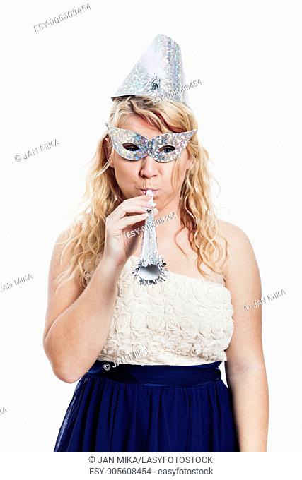Portrait of woman in party costume celebrating, isolated on white background