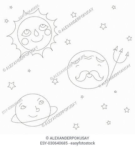 Educational game connect the dots to draw planets cartoon doodle hand drawn vector illustration