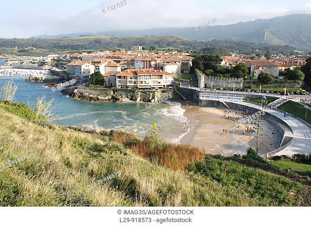 Sablón beach and Llanes village  Asturias, Spain