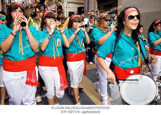 `Grallers'of Castellers de Sant Pere i Sant Pau Musicians 'Castellers' is a Catalan tradition Festa de Santa Tecla, city festival  Carrer Major Tarragona, Spain