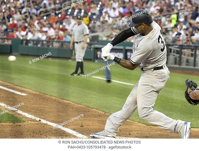 New York Yankees center fielder Aaron Hicks (31) connects for a two run home run in the fifth inning against the Washington Nationals at Nationals Park in...