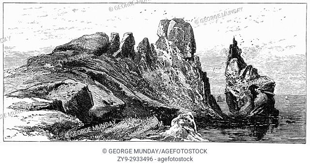 """1870: The huge freestanding rock called """"""""the Stack"""""""", at the northeastern corner of the island, host to a large variety of seabirds, on Ireland's Eye"""