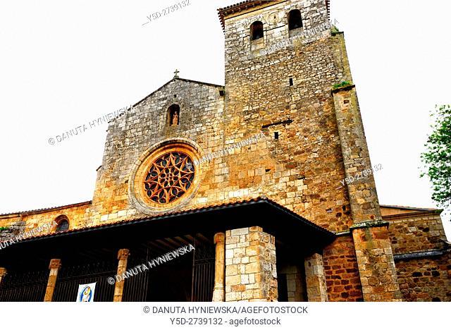 facade of Collegiate church of San Cosme and San Damian, old town of Covarrubias, Ruta del Cid, Burgos province, Castilla-León, Castile and León