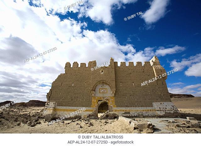 Photograph of an ancient castle in the Jordanian desert