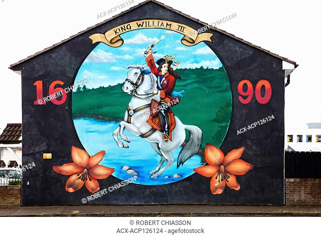 Mural depicting King William III (William of Orange) as he crosses the River Boyne to defeat King James II and thereby ascend to the throne of England and...
