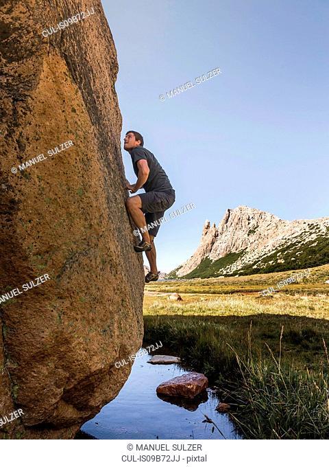 Male boulderer moving up valley boulder, Nahuel Huapi National Park, Rio Negro, Argentina