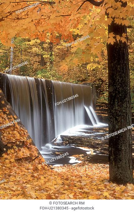 waterfall, fall, North Bennington, VT, Vermont, A sheet of water cascades over a waterfall on Paran Creek surrounded by colorful foliage in North Bennington in...