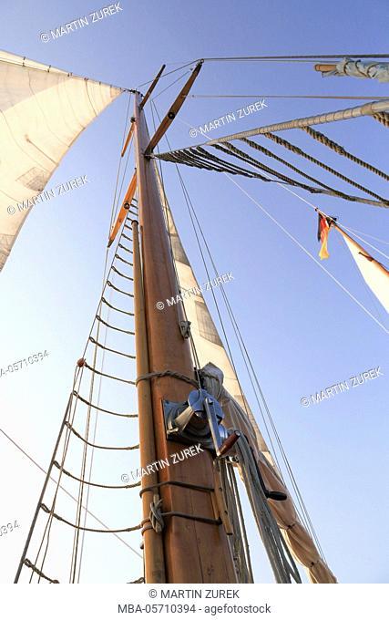 Ocean-going yacht in 'Museumshafen Greifswald', Germany, Greifswald, Mecklenburg-Western Pomerania, North Sea, Bodden, two-master, sailing ship, sailing