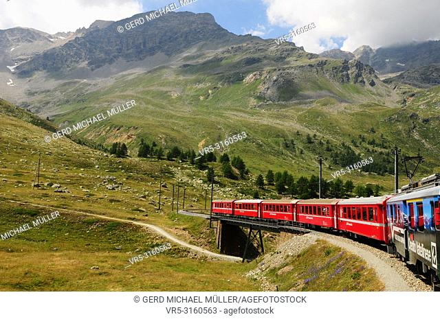 The global climate change is melting the permafrost and glaciers in the swiss alps like here at Bernina Hospitz