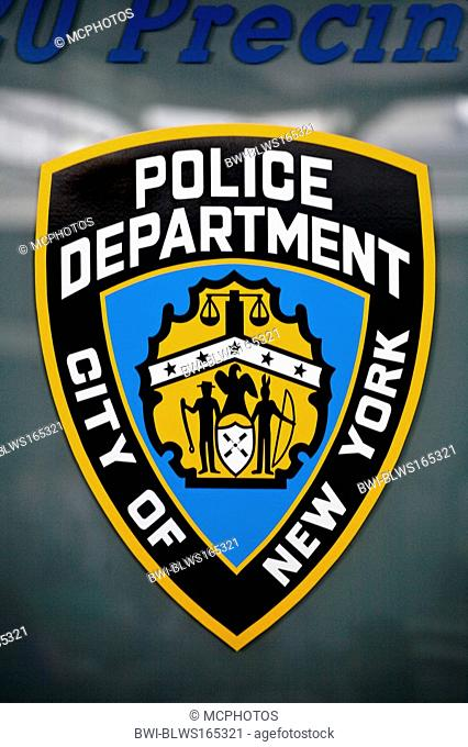 Official LOGO of the NYPD, USA, New York City