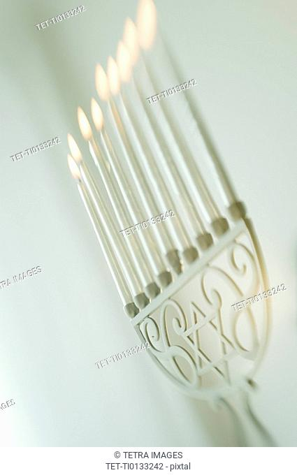 Close up of holiday menorah
