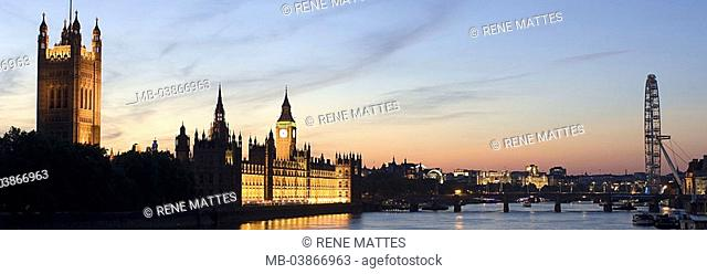 Great Britain, England, London, Houses of Parliament, London Eye, illumination, river Thames, no property release, series, Europe, city, capital, city-opinion