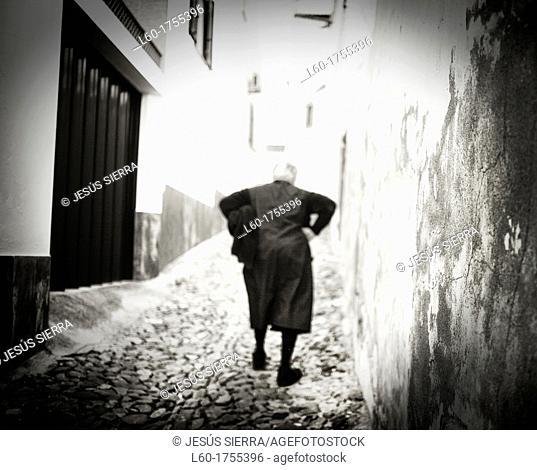 Old woman in Barrancos village, Alentejo, Portugal