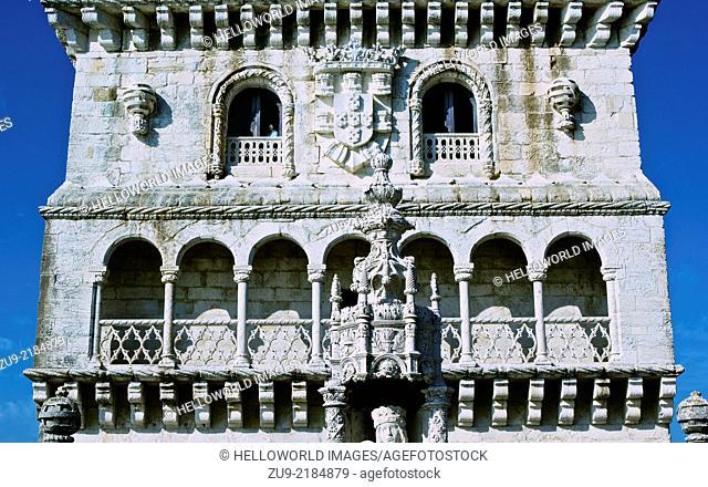 Portuguese coat of arms and the arcaded Renaissance loggia of Torre de Belem UNESCO world heritage site, Lisbon, Portugal, western Europe