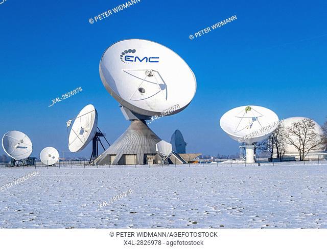 Satellite dish, Raisting Satellite Earth Station in Winter, ground station, satellite communications, Upper Bavaria, Germany, Europe
