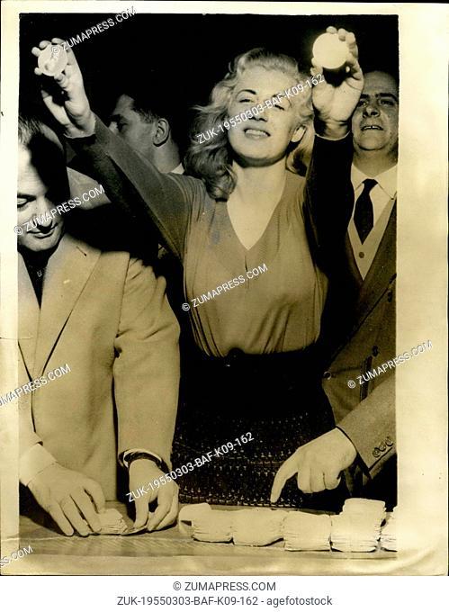 Mar. 03, 1955 - 18 year old Italian School girl wins 5,120,000 lire in Italian TV Quiz on Football; 18 year old blonde Italian school girl Paola Bollonani