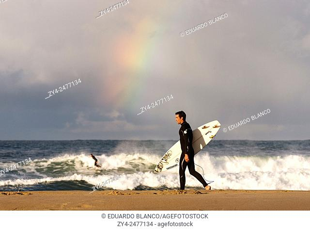 Surfer in beach. Donostia. San Sebastian. Euskadi. Vasque country. Spain. Europe