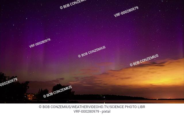 Timelapse footage of the Aurora Borealis, or northern lights. Auroral displays are caused by interactions between energetic charged particles from the Sun
