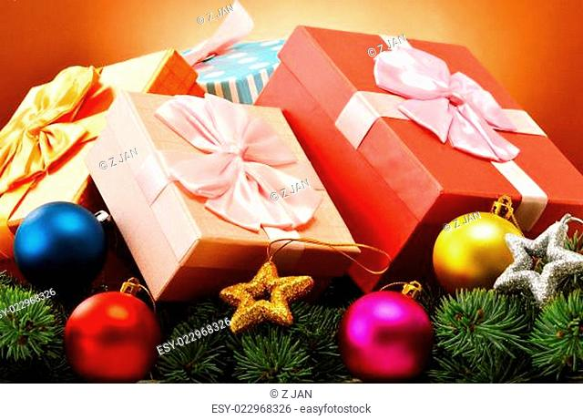 Colorful gift boxes and christmas tree