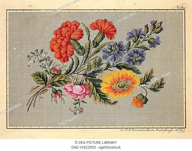 Embroidery, Germany 19th century. Bunch of roses, carnations, marigolds and forget-me-not embroidery design.  Berlin, Kunstbibliothek (Art Library)