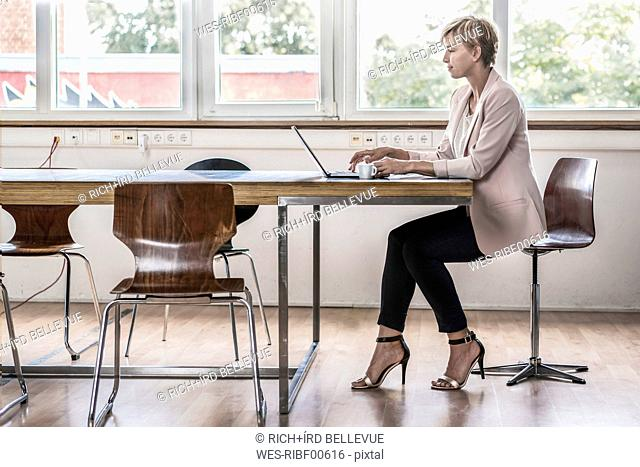 Businesswoman using laptop in modern conference room