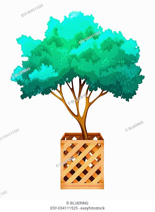 A fenced tree on a white background