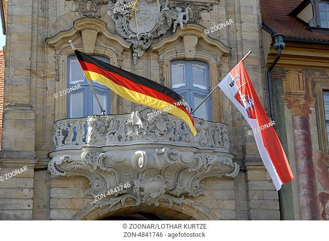 The flags of Germany and Bamberg