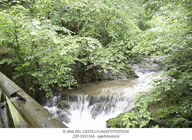 Valles Pasiegos Cantabria landscape wiht stream Selaya Spain