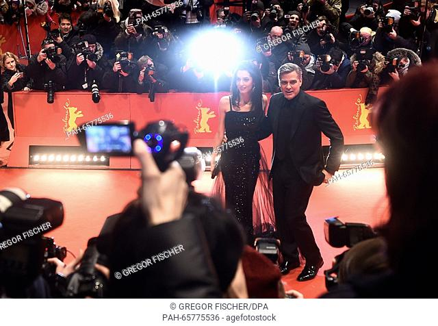 66th International Film Festival in Berlin, Germany, 11 February 2016. Opening gala and film premiere -Hail Ceasar!-: George Clooney and wife Amal