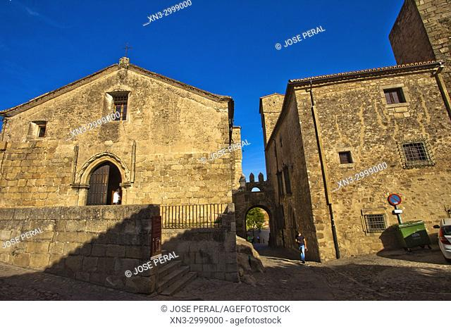 At left church of Santiago, Trujillo, Caceres Province, Extremadura, Spain, Europe