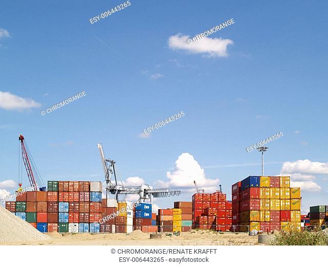 Containers in the Freeport of Hamburg,Hamburg,Germany,Europe