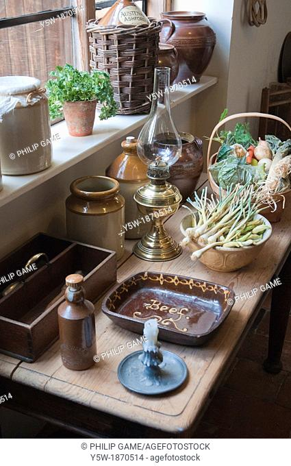Kitchen table in Rosehill House, home of a Quaker family of ironmasters at Coalbrookdale in the Ironbridge Gorge