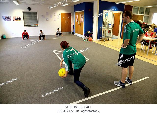 Boys with visual impairments being taught Goalball at Mysight, Nottingham