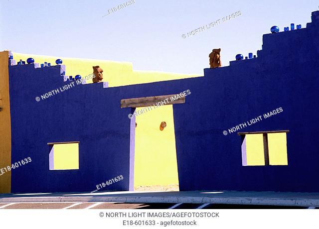 Adobe architectural detail on main street. Columbus. New Mexico. USA
