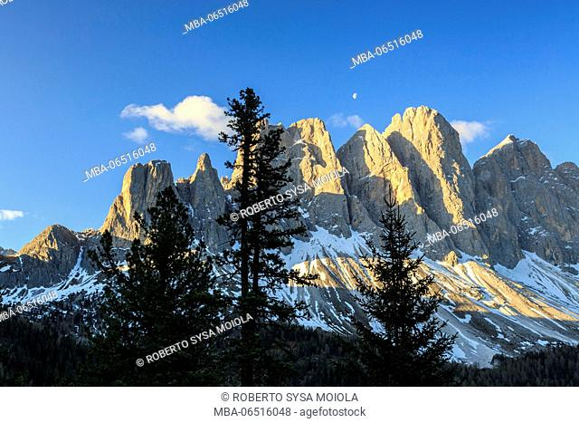 The group of Odle and its peaks at sunrise. St. Magdalena Funes Valley South Tyrol Dolomites Italy Europe