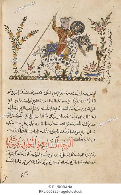 A red-robed horseman with circular shield and downward- pointing spear on horseback. Image taken from Nihayat al-su'l, a manual of horsemanship and military...