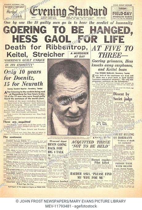 1946 Evening Standard (London) 2nd Edition front page Nazi leaders sentenced to death