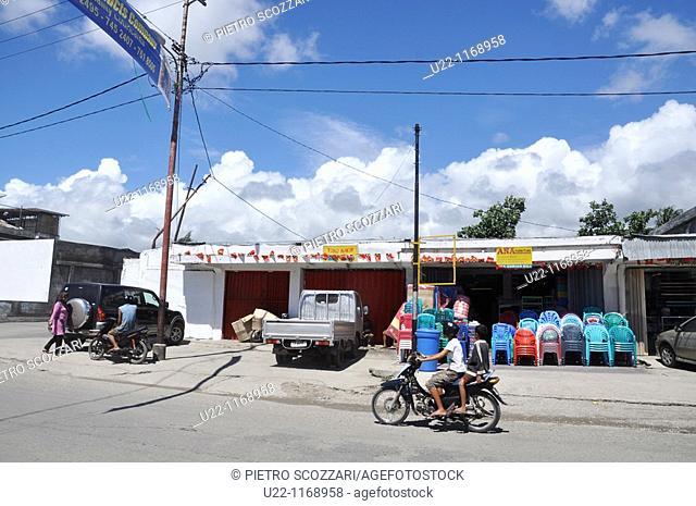 Dili (East Timor): a furniture shop along a street