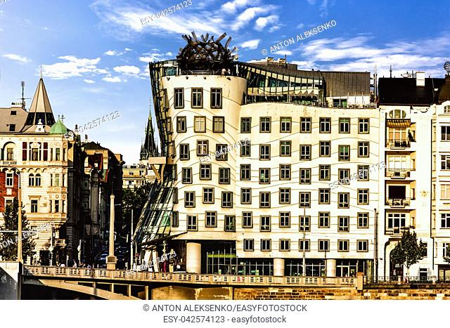 Dancing House of Prague, Czech Republic, view from the other bank of the Vltava