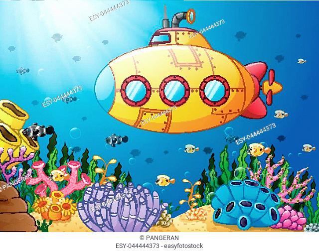 Vector illustration of Cartoon submarine underwater
