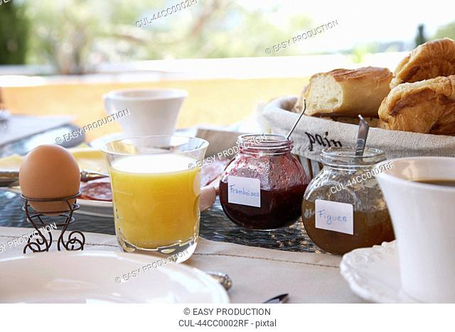 Close up of food at breakfast table