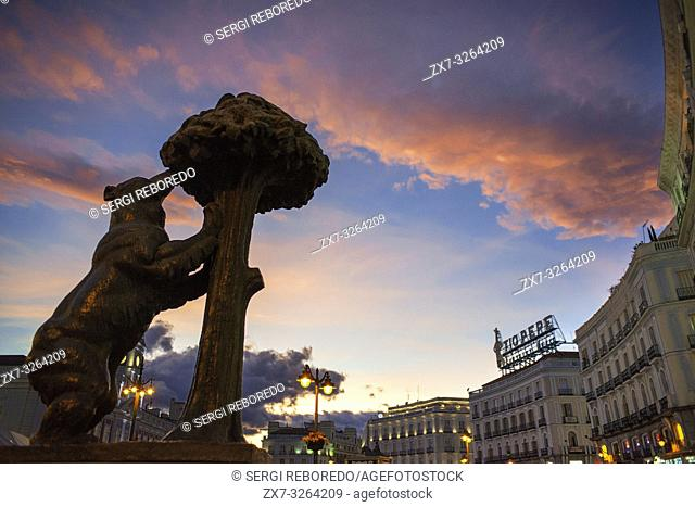 Statue of Bear and strawberry tree symbol of Madrid in Puerta del Sol square in the city centre, Madrid, Spain